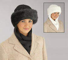 Collections Etc Faux Fur Trimmed Winter Hat With Attached Scarf