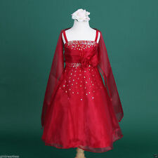 Apple Red Teen Quinceañera Flower Girl Shawl Prom Dress 2 4 6 8 9/10 12 14 15/16