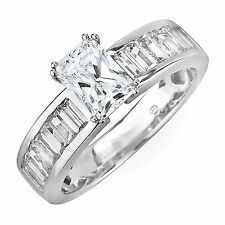 GIA Certified Radiant & Baguette Cut Diamond Engagement Ring 1.82 Carat