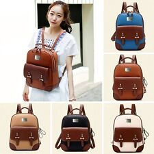 ZF0047 Women's 5 colors Bookbag Retro College Wind Faux Leather Backpack Handbag