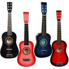 """NEW 23"""" HANDMADE KIDS CHILDREN 6 STRING ACOUSTIC GUITAR 3 COLOURS BLUE PINK RED"""