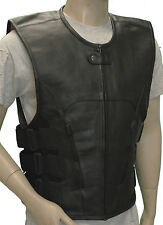 Mens Naked Leather Tactical Motorcycle Vest 3XL- TOP QUALITY! SWAT TEAM!