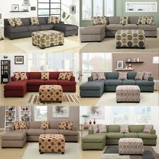 Sectional Sofa Couch L Shape Set Bobkona Couch 2 Pc Living room furniture set