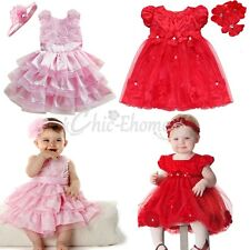 Flower Girl Wedding Pageant Party Formal Dress Baby Toddler SZ 6-24M Xmas Outfit