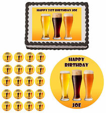 Beer Glasses Edible Adult Birthday Cake Cupcake Toppers Party Decorations Images