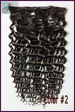 170g 250g 10pcs Curly Wavy Clip IN Remy Human Hair Extensions,Brown,Full Head US