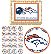 Denver Broncos Edible Birthday Cake Cupcake Toppers Party Decorations Images