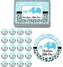 Sweet Safari Blue Elephants Edible Baby Shower Cake Cupcake Topper Party