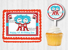 Thing One 1 Thing Two 2 Edible Birthday Baby Shower Cake Cupcake Topper Party