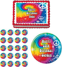 Tie Dye Peace Sign Edible Birthday Cake Cupcake Topper Party Decoration