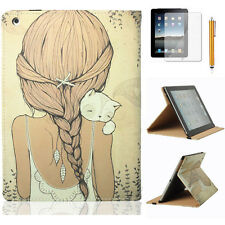 Cartoon Cat Girl Flip Leather Stand Case Cover for Apple iPad Samsung Tablet PC