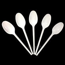 White Plastic Disposable Strong Dessert Spoons Cutlery Party Wedding Catering
