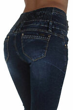 MK3008 - High Rise Colombian Style Elastic Waist, Butt Lift, Skinny Jeans