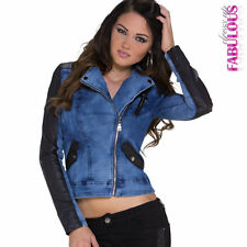 New Sexy Women's Jeans Denim Faux Leather Jacket Size 6-12 Trendy Zip Outerwear