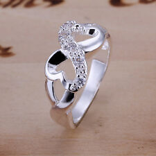 Women Ladies Gift Rings Double Heart Ring with Zircon Couples Engagement Ring