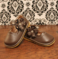 Brown w/ Flower Toddler Girl Mary Jane Squeaky Shoes, Sizes 3, 4, 5, 6, 7, 8, 9