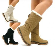 SNOW BOOTS WOMENS FUR LINED WINTER QUILTED FLAT KNEE HIGH SNOW BOOTS SHOES SIZE