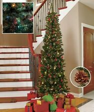 7 ' Slim Pre-Lit Christmas Tree W/200 Lights 10 Pine Cones-Multi-Color or White