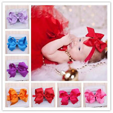 10Pcs 7cm Big Hair Bows Boutique Girls Baby Alligator Clip Grosgrain Ribbon