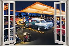 Huge 3D Window Rock a Billy 50's America Diner View Wall Sticker Film Decal 1110