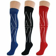 3 Pairs Womens Ladies Girls Over Knee Thigh High Union Jack Socks New