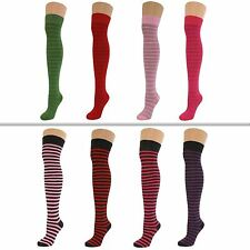 4 Pairs Womens Ladies Girls Over Knee Thigh High Thin Striped Socks New