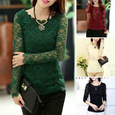 Women Long Sleeve Crew Neck Chiffon Lace Shirt Tops Slim Floral Blouse T-Shirt