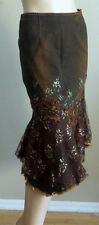 WEST 36TH RUST BROWN FLORAL LACE GLITTER BEADED PEARL DENIM JEANS SKIRT 3715