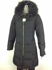 Calvin Klein New WT Gorgeous Black Down Jacket with Hood and Removable Faux fur