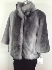 Calvin Klein NWT Gourgeous Faux Fur Silver Cape- perfect for all any ocassions