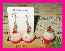 3D Chocolate Pink Red Velvet Blue Vanilla Cupcake Earrings Matching Necklace USA