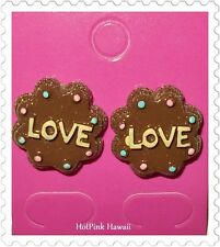 Candy Cookie Chocolate Pink Frosted LOVE Cake Bite Stud Earrings Silver Plated