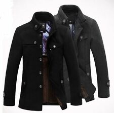 New Men Casual Winter Trench Coat Wool Long Jacket fur lined Outerwear Overcoat