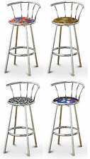 "FC57 CHROME FINISH METAL 24"" TALL SWIVEL SEAT CUSHION KITCHEN COUNTER BARSTOOLS"