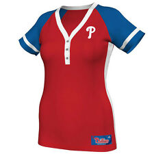 Philadelphia Phillies Shirt Womens Henley Jersey Style Red Size S/LG NWT