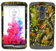 Protective Rugged Cover for LG G3 Dual Layer Case Oak Tree Leaves Camo Gray