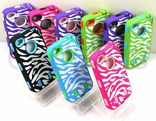ZEBRA STRIPES DEFENDER HARD CASE RUBBER COVER w/ BUILT IN SCREEN FOR IPHONE 4 4S