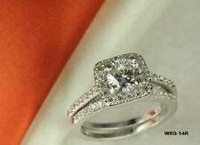 STERLING SILVER  ROUND CZ PAVE VTG STYLE  ENGAGEMENT RING WEDDING HALO RING SET
