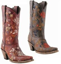 Lucchese M5025 Red / M5026 Brown Womens Calf Leather Floral Western Cowboy Boots