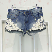 women crochet flower skinny lace peal denim hot pants shorts