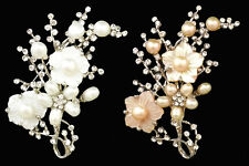 Pearl Shell and Rhinestone Flower Bunch Brooch Wedding Occasion - Colour Choice