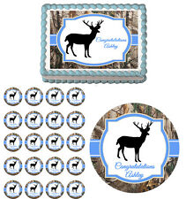 Deer Hunting Real Tree Camo Edible Baby Shower Cake Cupcake Toppers Party