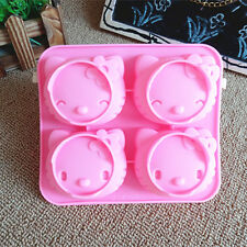 Kitty 4 Cav Muffin cookie Chocolate Candy Jelly Cake Silicone Baking Mold