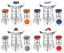 FC520 MLB THEMED WHITE AND CHROME BAR TABLE SET FOR MAN CAVE, PUB OR GAME ROOM