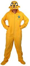 ADVENTURE TIME JAKE COSTUME HOODED FOOTED FOOTIE PAJAMAS UNION SUIT NEW SIZE M L
