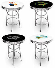 "FC552 NEW 42"" TALL THEMED TOP BLACK OR WHITE ROUND BAR BISTRO PUB CHROME TABLE"