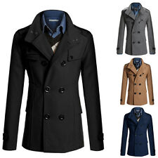 Men Winter Jacket Trench Coat DOUBLE BREASTED Slim Fit Blazer Pea Coat CRAZY HOT