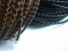 New Arrive 3mm Real Genuine Braided Leather Cord String Lace Thong Bolo Rope