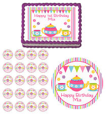 Tea Party Edible Birthday Cake Cupcake Toppers Favors Decorations