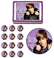 Justin Bieber Edible Birthday Party Cake Topper Cupcake Decorations Favors